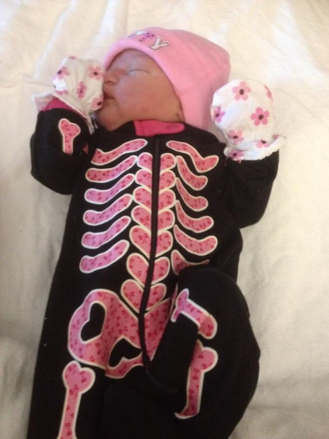 My Niece was born on Halloween. This is the outfit my sister brought with her to the Hospital.