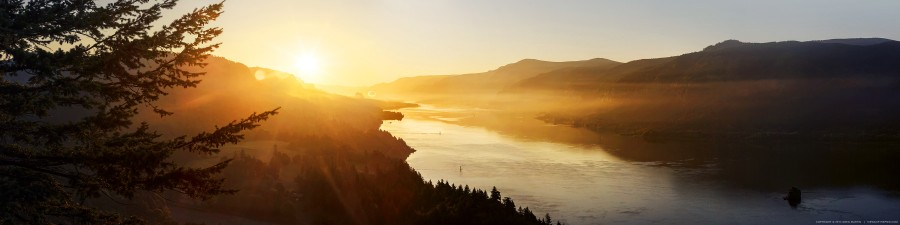 Summer sunrise in the Columbia Gorge, OR [OS] [OC] [3600×900]