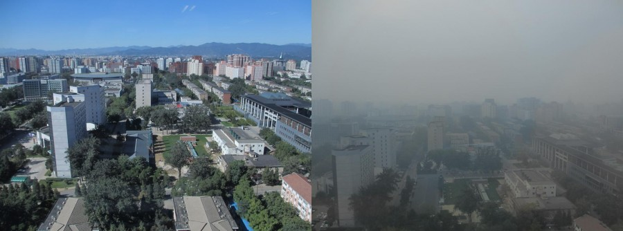Air pollution in Beijing: same view, two different days.