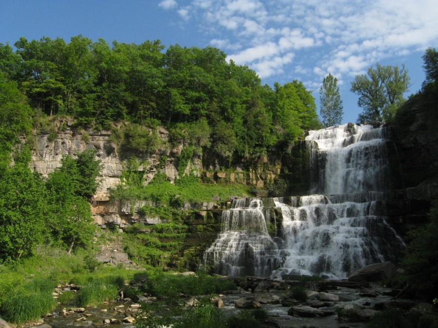 Standing at the bottom, Chittenango Falls, Chittenango, NY [3072 x 2304][OC]