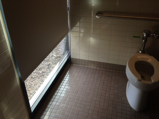 At school there's a bathroom stall with a huge window. The curtain can go up…