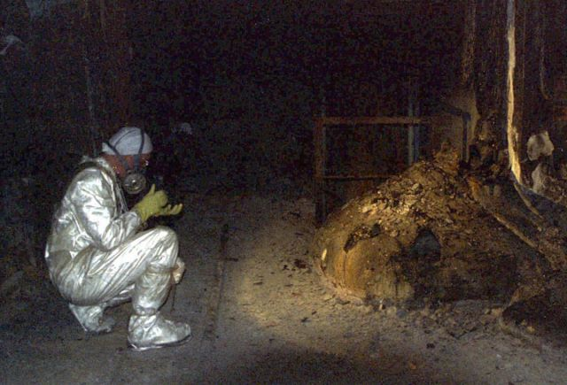 "I came across this picture while researching about Polonium 210. I thought this was impossible to be near the ""elephant's foot""!"