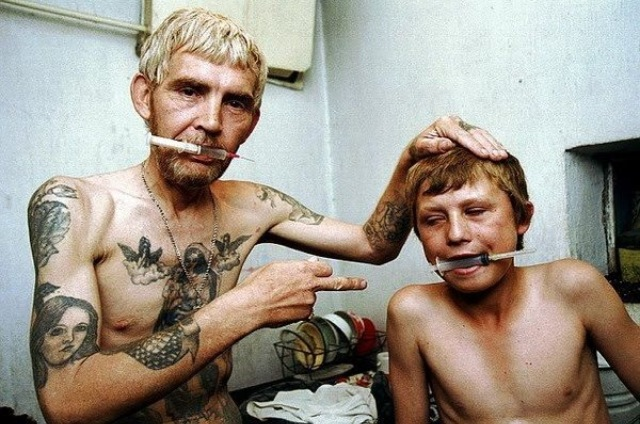 Heroin addict and his son