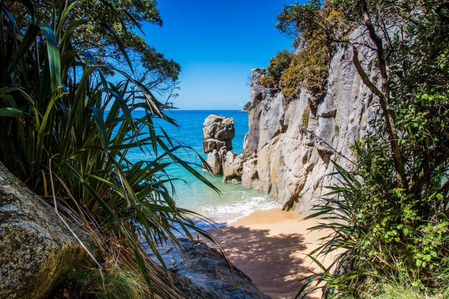New Zealand has endless beaches but this may be the smallest beach in the country – found in the Abel Tasman National Park [1920×1080] [OC]