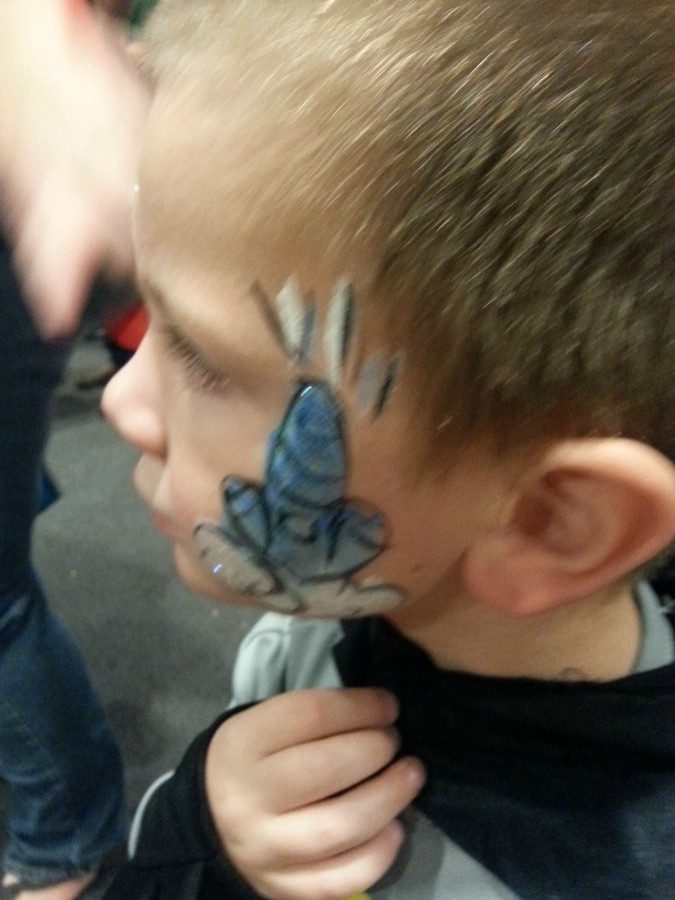 """A clown drew this """"rocket"""" on my son's face at a church function. Made for an awkward evening. [OC]"""