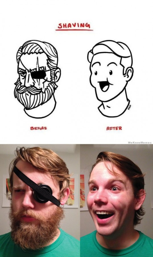 Shaving off your manhood.