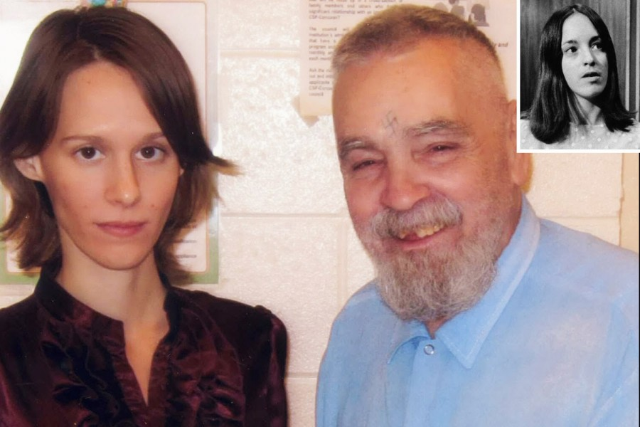 """Charles Manson and his soon-to-be wife, 25 year old """"Star"""", who just happens to resemble Susan Atkins"""