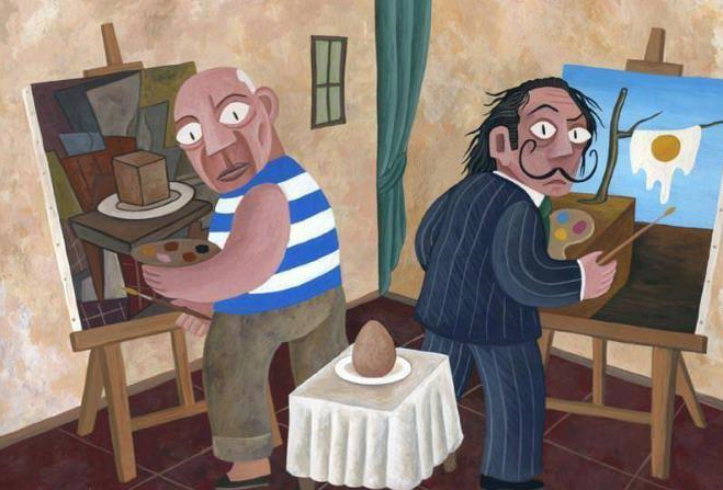 Picasso and Dali painting an egg.