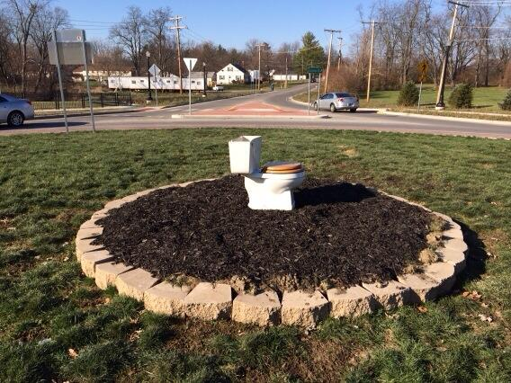 A toilet in a roundabout in Muncie, Indiana