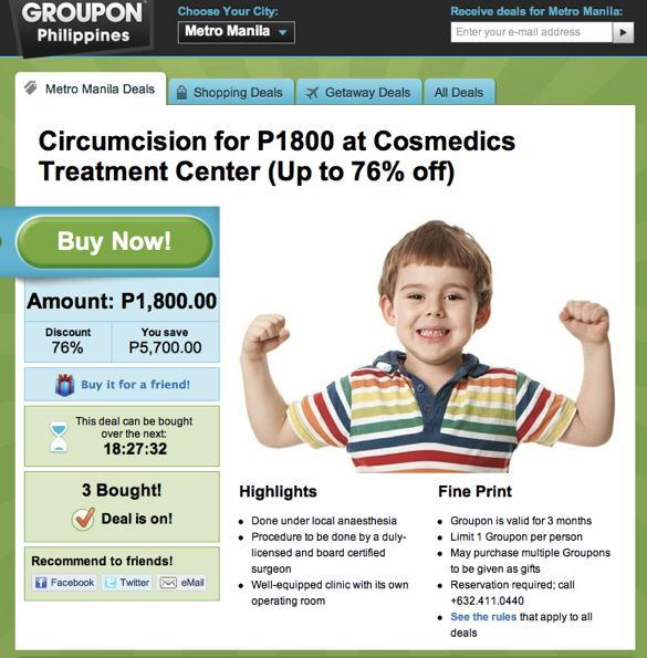 Circumcision groupon deal?