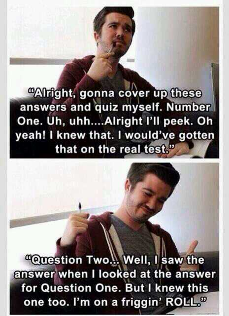 Me studying for finals
