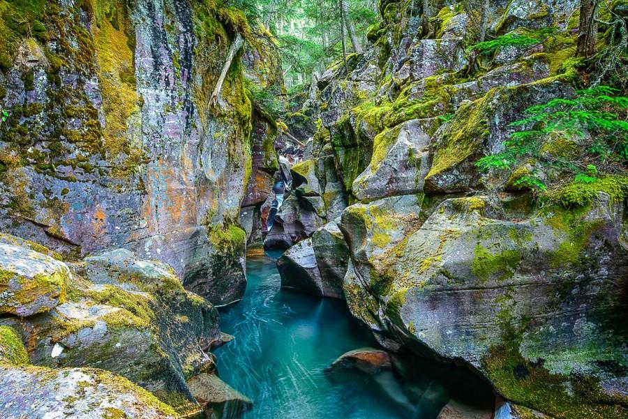 Low Water. Avalanche Gorge, Glacier Park, Montana [1170×782].