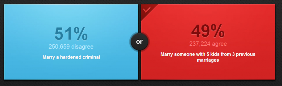 You know you've made some poor choices as a 23 year old when your last relationship is featured as a Would you Rather