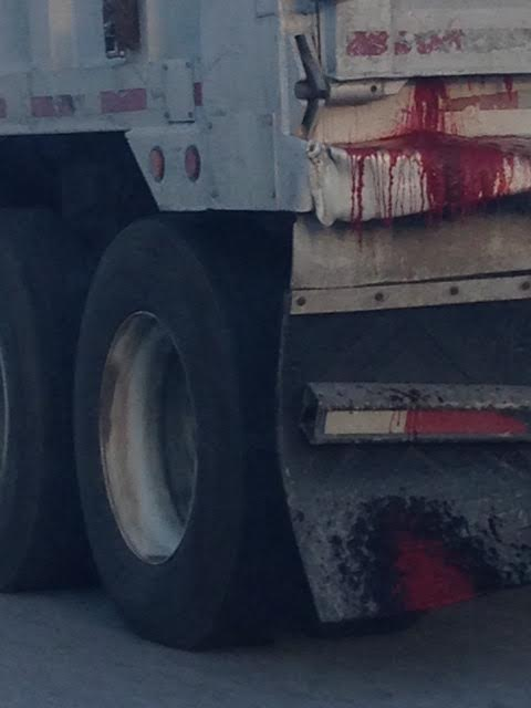 Saw this stuff leaking out of a dump truck on the way home from work (cell phone quality)