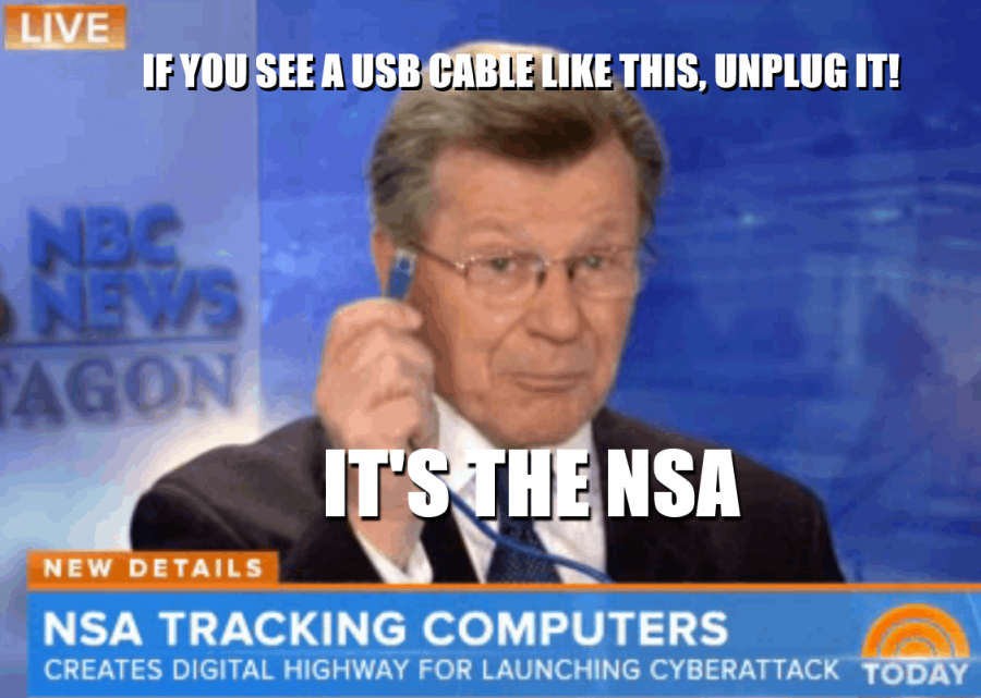 This is part of the reason American's are so ill-informed- Jim Miklaszewski holds up an Ethernet cord while explaining how the NSA is using compromised USB cables to spy on people worldwide
