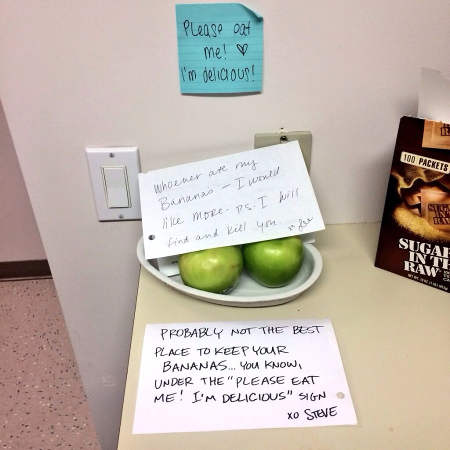 My co-worker left an angry note about her food being stolen. Clearly she missed something…