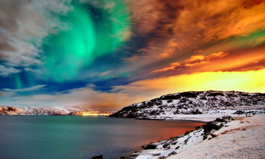 Northern Lights Over Hammerfest, Norway At Sunset [1024×614]