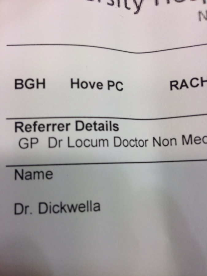 Hands down best name ever for a doctor doing std checks