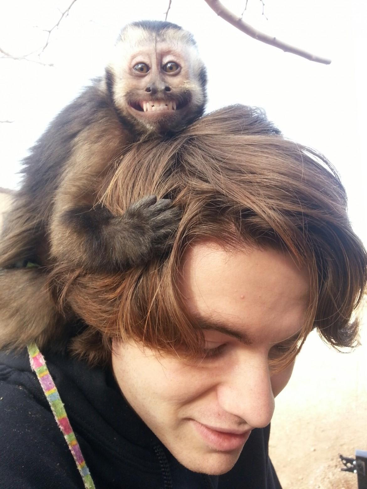 Nala monkey thinks I'm her boyfriend.