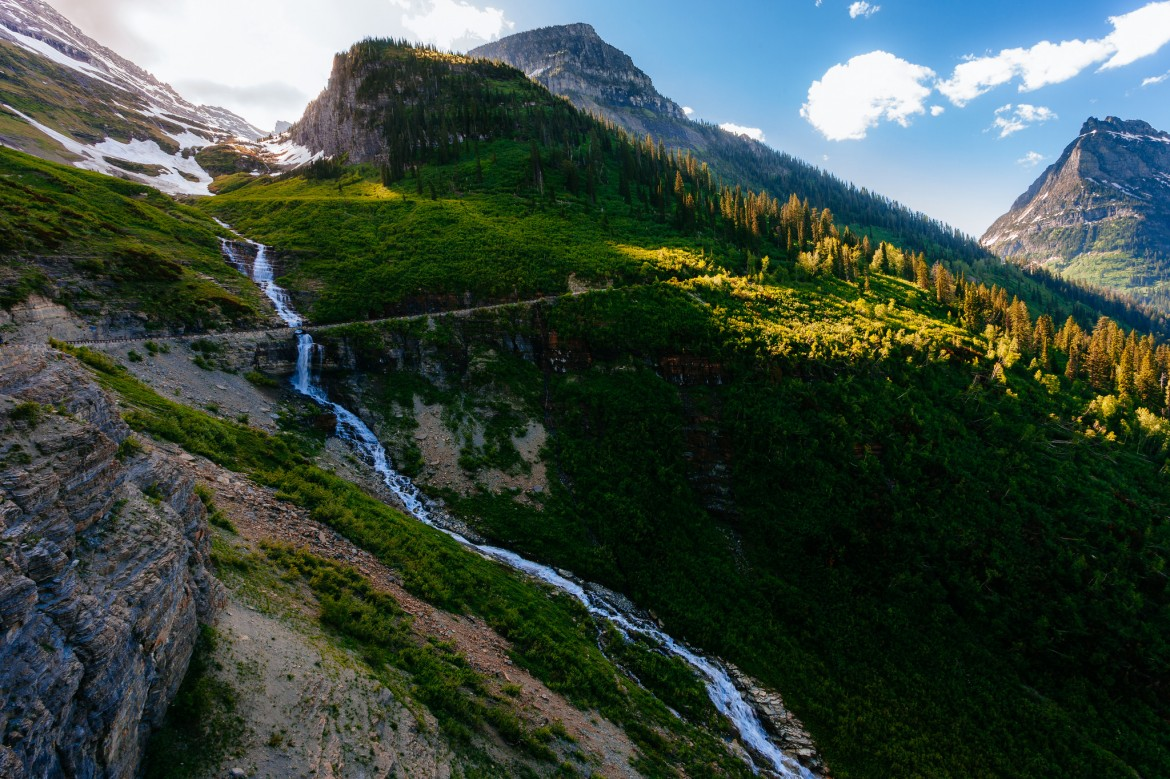 Long trickling waterfall through Logan Pass, Glacier National Park, MT [2048×1365]