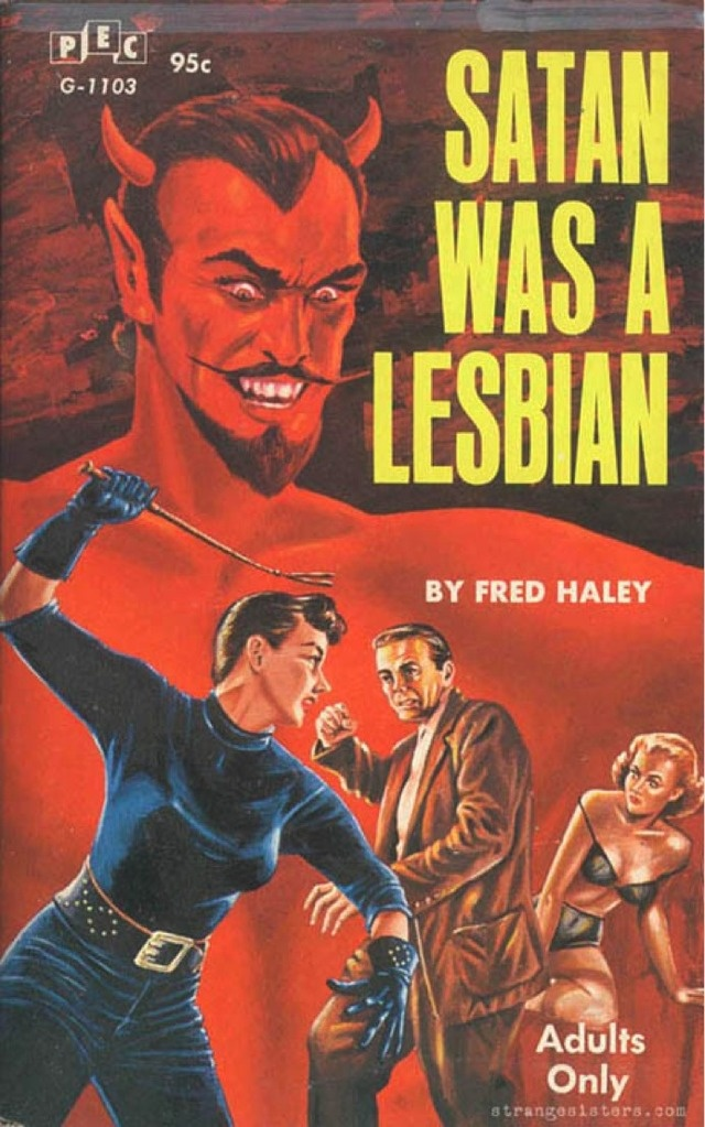 Early '60s pulp book cover reveals something about Satan's proclivities…