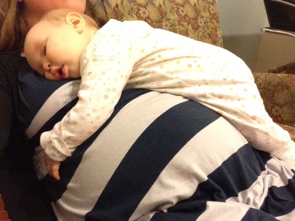 According to our niece, my sister's pregnant belly is in fact a bed