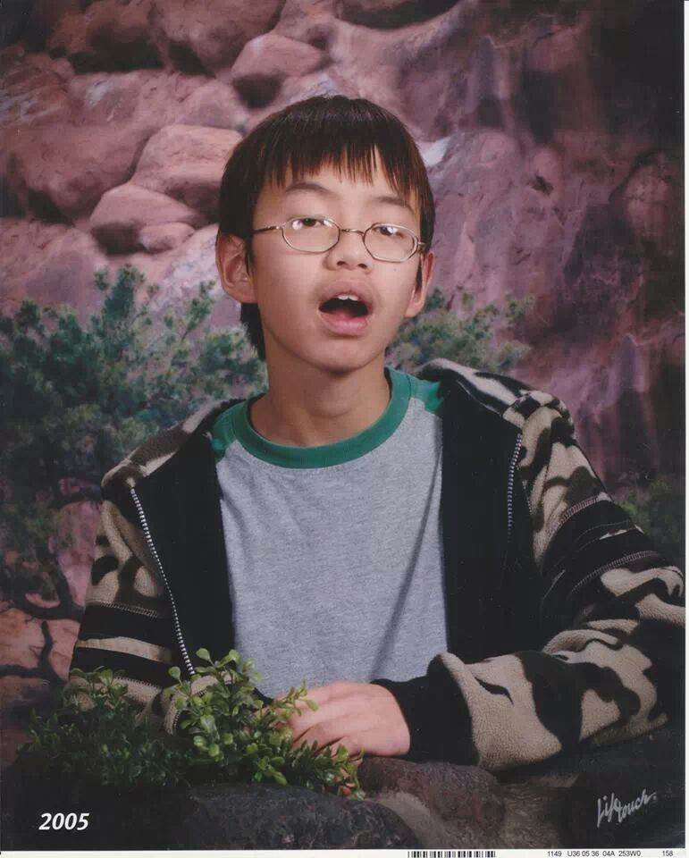 I see your friend's old school picture and raise you my 8th grade photo.