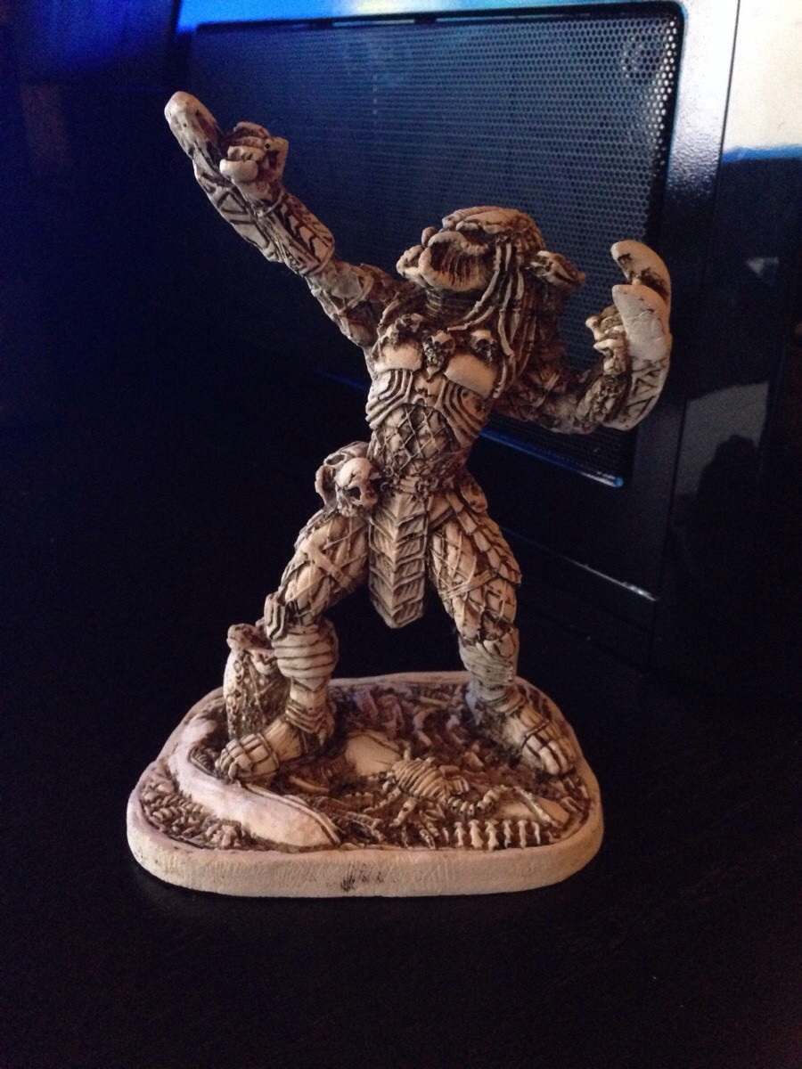 Got drunk in Mexico. Bought a statue of predator flexing made of bone. No regrets.