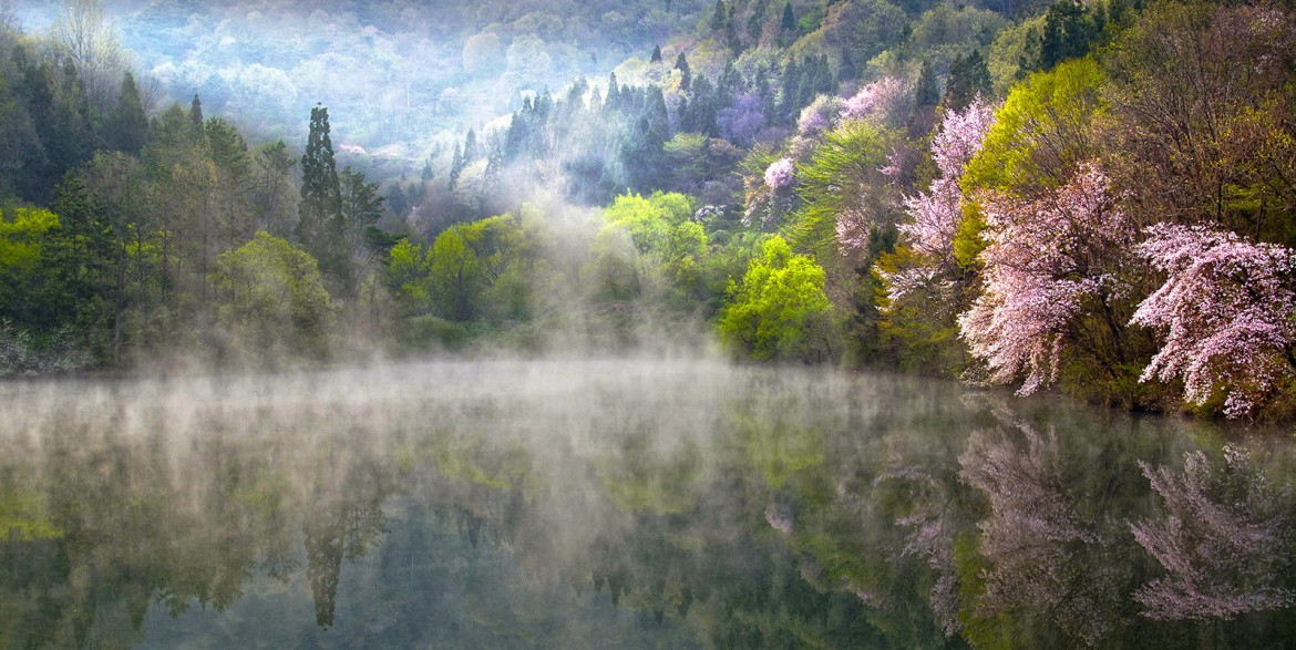 """Reflection and mist"" – near Gwangju, South Korea [1600×803][OS] photo by Alex Lee"